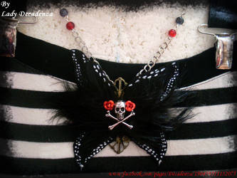 necklace gothic spirit feather butterfly by midnightbreath