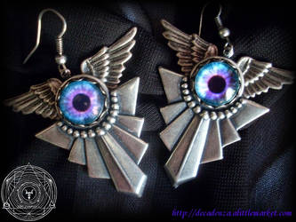 dragon eyes steampunk gothic earrings Moonlight by midnightbreath