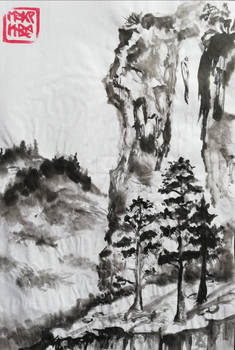 waterfall and pinetrees