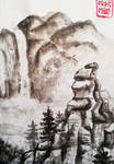 Landscape with rocks and waterfall+