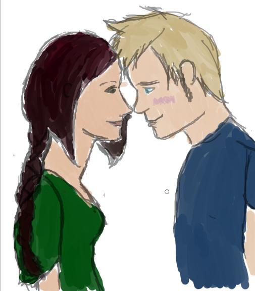 Peeta and Katniss by KizziMoo