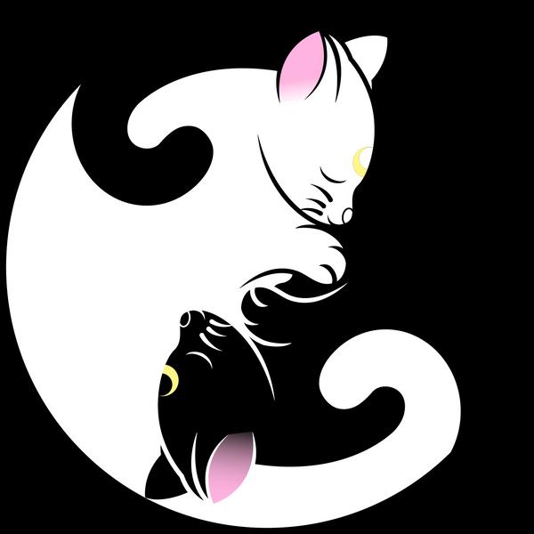 Luna and  Artemis Yin Yang Symbol