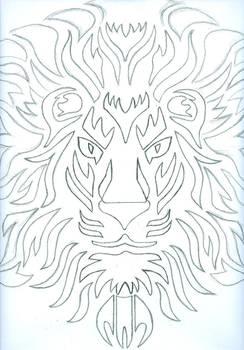 Lionface Sun Tribal design (wip)