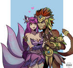 [Commission] [LOL] Elderwood Ahri x [DOTA] Wukong