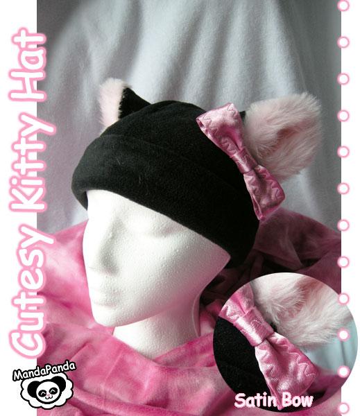 Cutesy Kitty Hat + Bow by Xx-Manda-Panda-xX