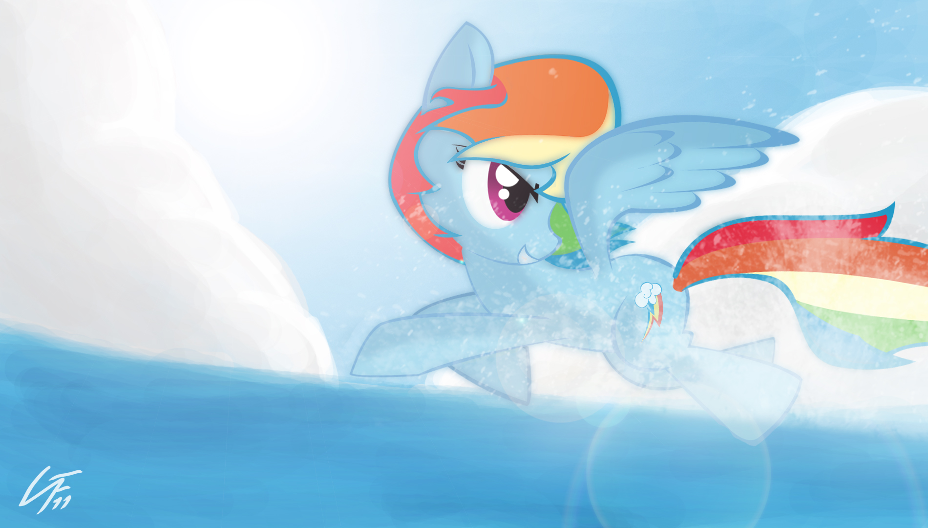 Rainbow on the sea DESKTOP by NoPonyZone