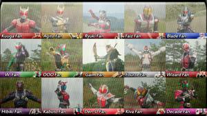 Main Fifteen Heisei Kamen Rider Fan Button List