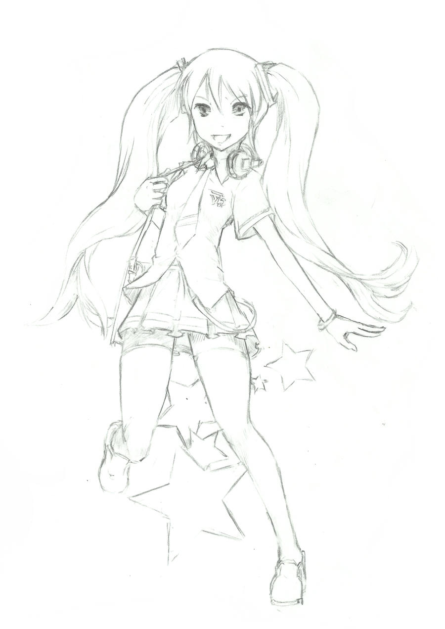 Miku School Uniform Sketch by lordless
