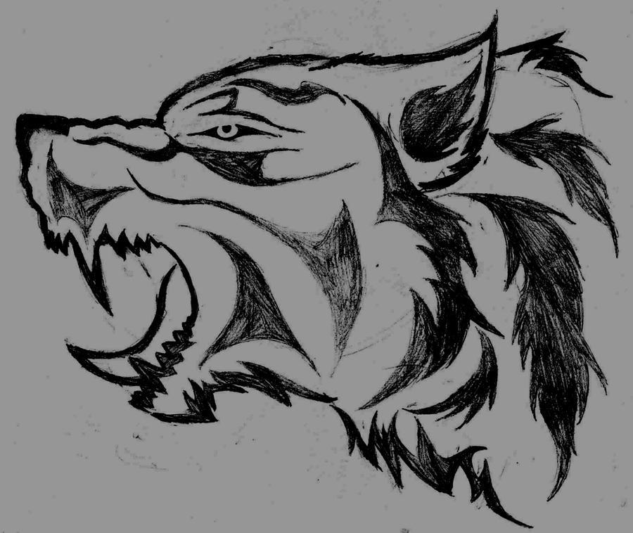Wolf growling tattoo