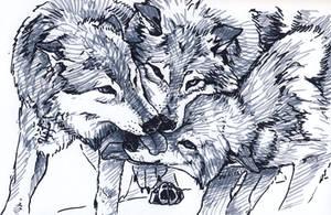 Three Wolves by silvercrossfox
