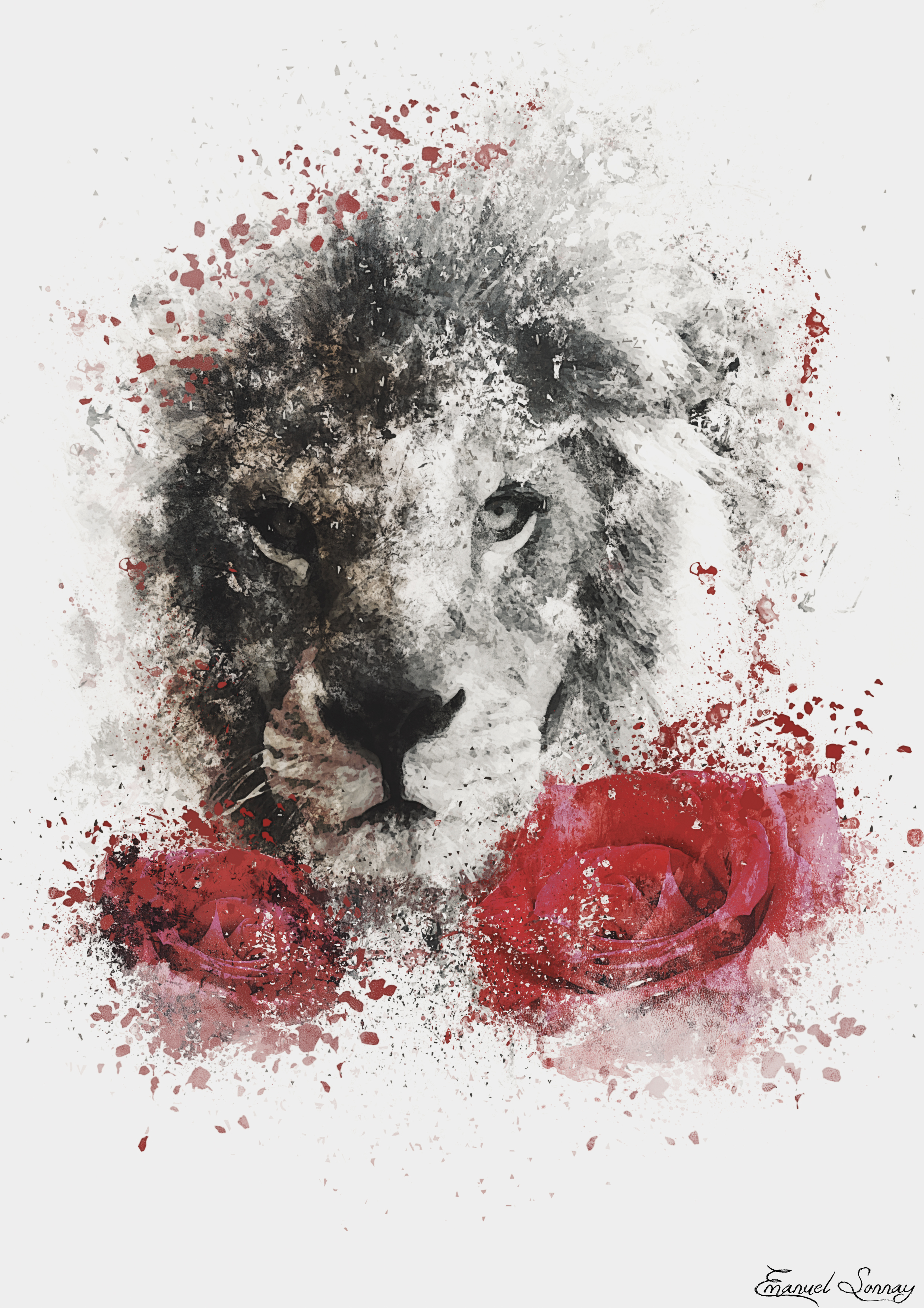 Lion and Roses by ManuxGame