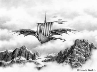 Dragon ship by Svera