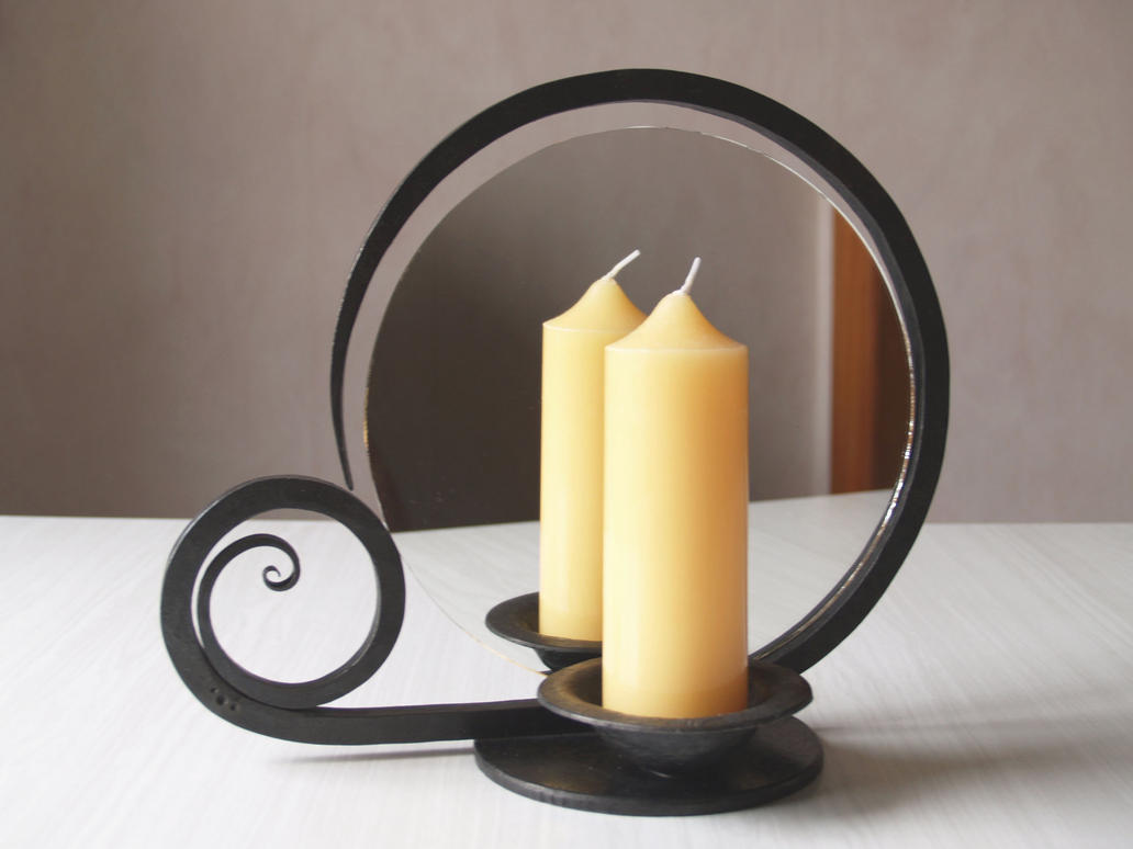 Candle holder with mirror by 3threesuns on deviantart for Mirror holders