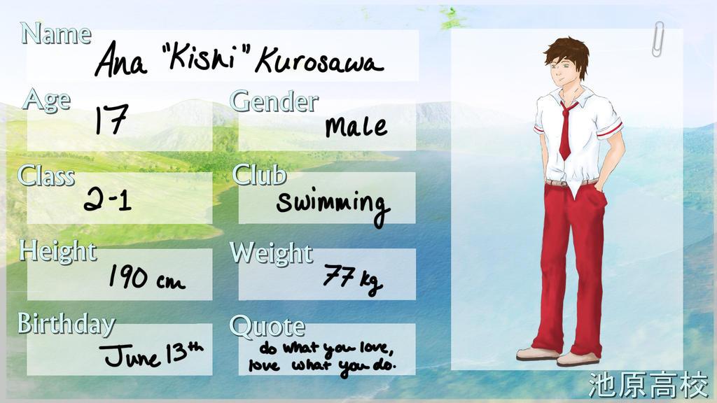 Ana 'Kishi' Kurosawa: Ikehara High App by kromogami18