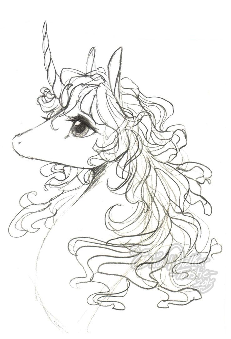 The Last Unicorn Sketch by ToastyToastie