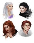 ASOIAF - Jon Snow, Daenerys, Robb and Sansa
