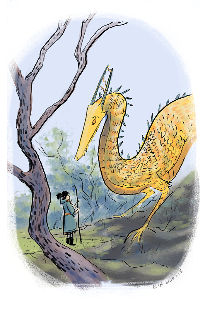 Girl and dragon by Bagini