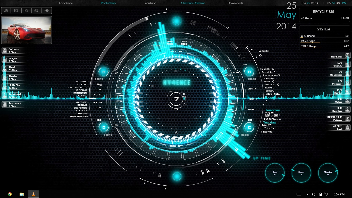 My minimalist rainmeter desktop by vince808 on deviantart for Bureau windows 7 rainmeter