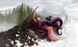 blissfully sprawled dragon