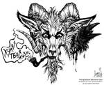 [sketch for tattoo] - cynical goat (open) by FeurigenSatan