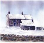 Moorland cottage winter snow by beajaye1