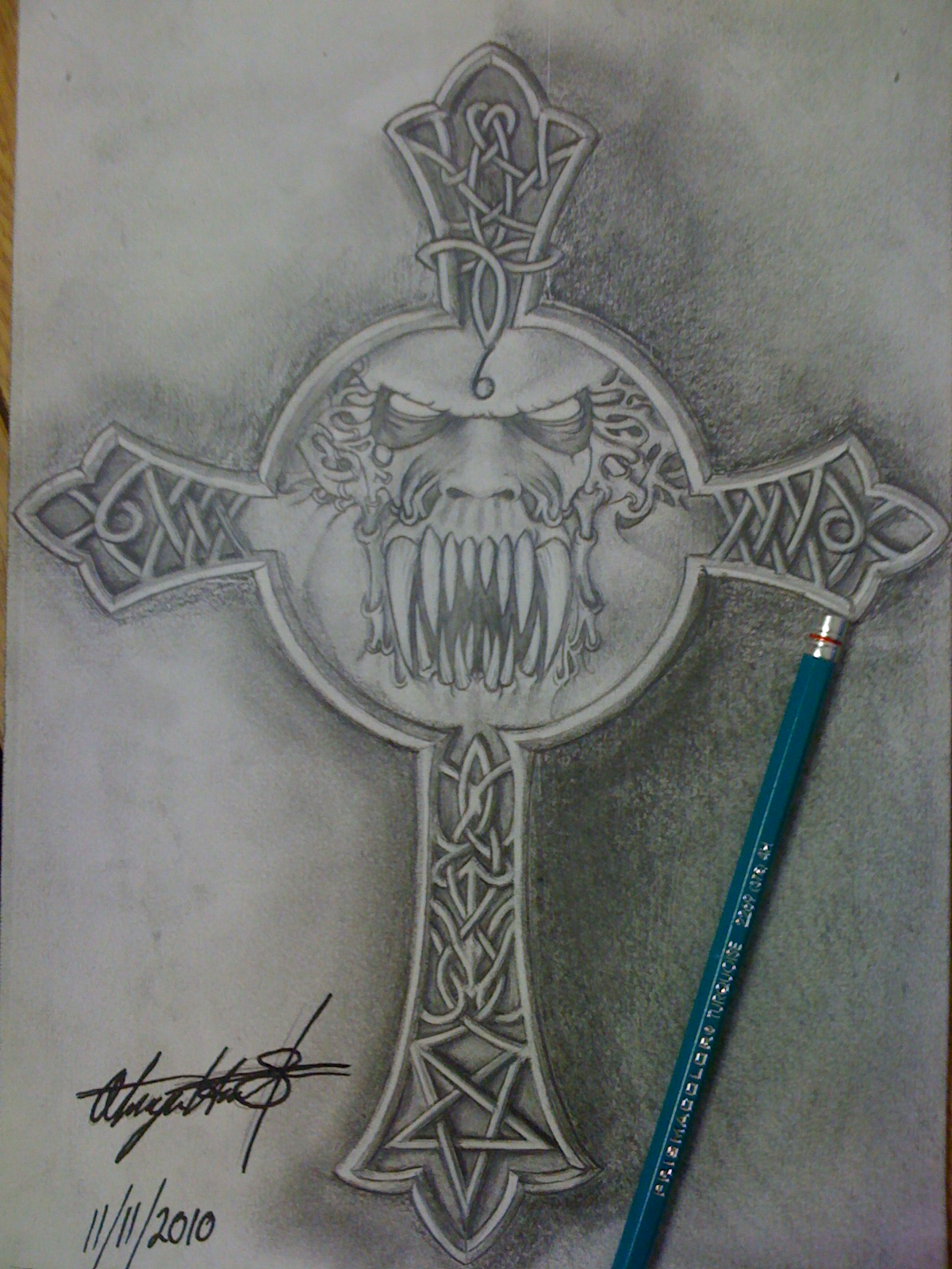 Upside down cross drawing