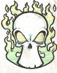 Tattoo Flash Skull and Flames