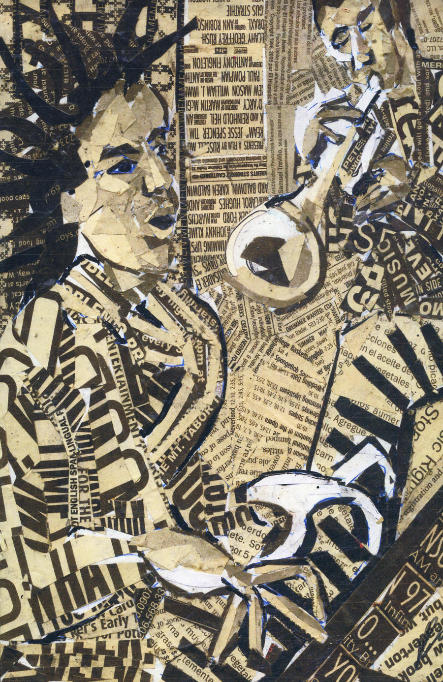 Newspaper Collage Artist Jazz Collage Newspaper by