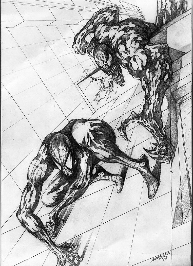 Line Drawing Vs Mass Drawing : Spiderman vs venom by gombez on deviantart