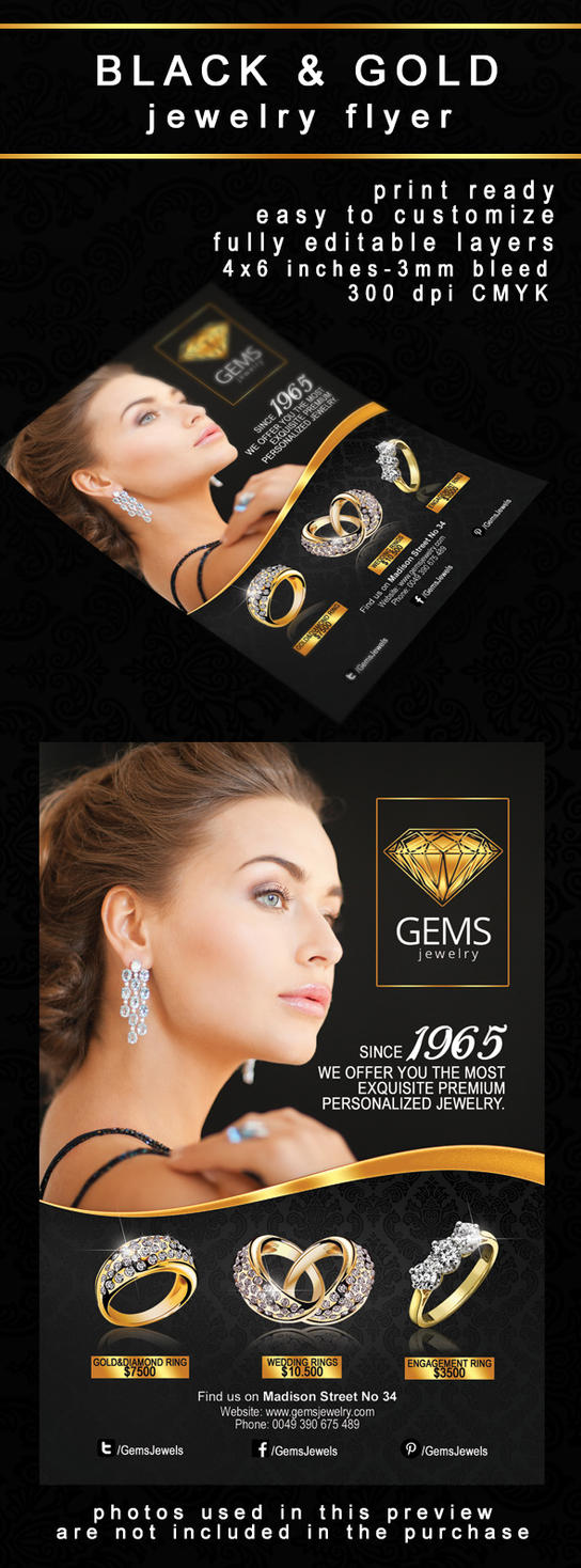 Black and Gold Jewelry Flyer by PrintDesign on DeviantArt