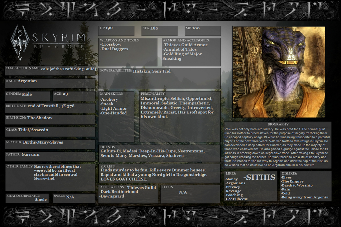 Skyrim Character: Vale by Darththork99