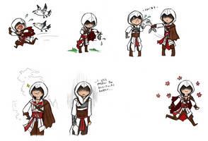 Ezio chibis by DelasShadow