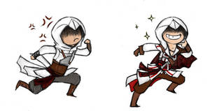 Altair and Ezio by DelasShadow