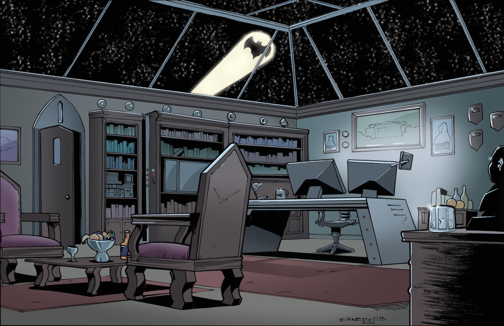 Bruce Wayne S Office At Wayne S Manor By Ernesin149 On