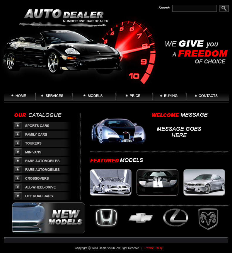Car Dealers Web Template by coolitz07 on DeviantArt