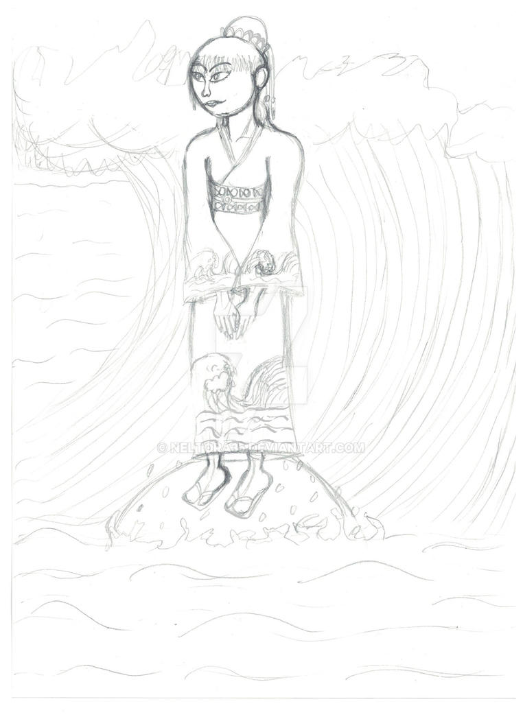 Umi no onna (Woman from the sea)- sketch by Neltora35
