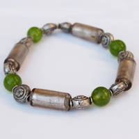 Silver and Jade Bead Bracelet by ariaoftherain