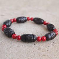 Black Wood and Red Elastic Bracelet by ariaoftherain