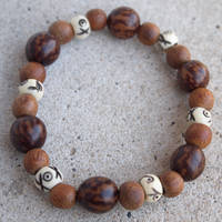 Bone and Wood Bead Elastic Bracelet by ariaoftherain