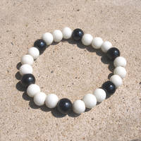 Black and White Bead Elastic Bracelet by ariaoftherain