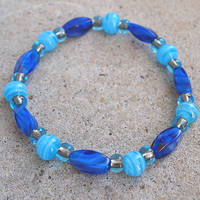 Blue Glass Elastic Bead Bracelet by ariaoftherain