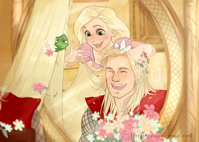 Rapunzel and Thor Commission by DeerAzeen