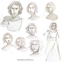 Kylo Ren Sketches by aimeezhou