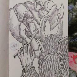 Santa Claus VS Krampus by HorusOniArts