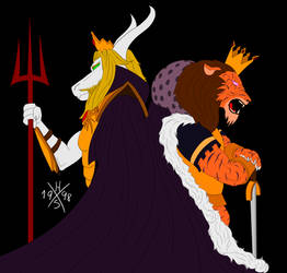 King of the Underworld and the Ruined King by HorusOniArts