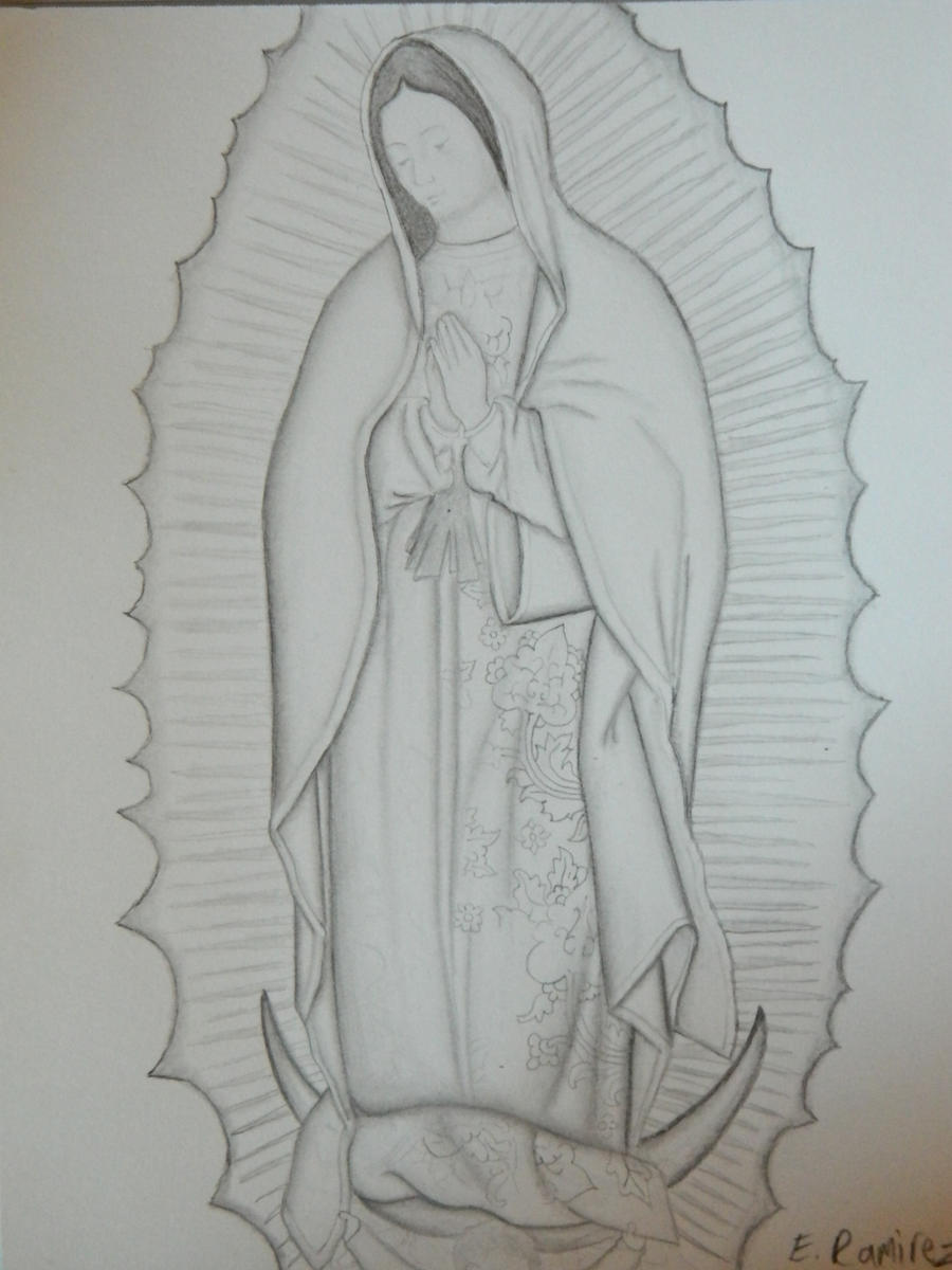 This is a graphic of Impeccable Virgen De Guadalupe Drawing