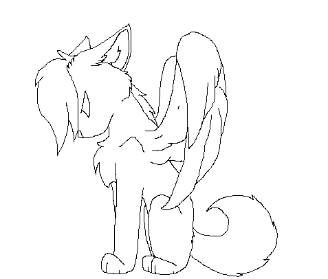 Winged Wolf Lineart by Cheznic on DeviantArt