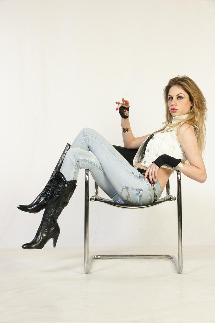 Girl Sitting On A Chair Smokin By Crowsreign Stock