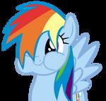 Rainbow Dash tries to look cute.
