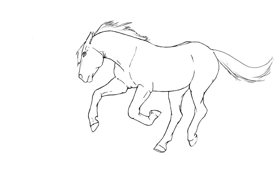Simple Horse Lineart : Simple galloping horse drawing